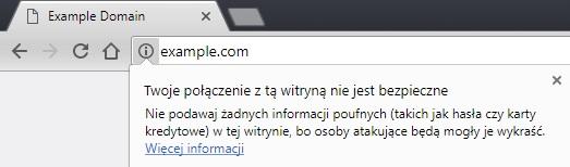 Niezabezpieczone protokołem https witryny w przeglądarce Google Chrome