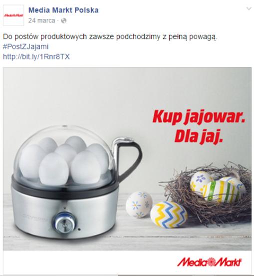 """Reklama Media Markt, która reklamuje produkt w okresie Wielkanocnym. Podejście ciekawe i """"z jajem"""