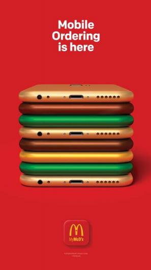 Reklama McDonald`s komunikująca możliwość zamawiania posiłków w mobilnej aplikacji