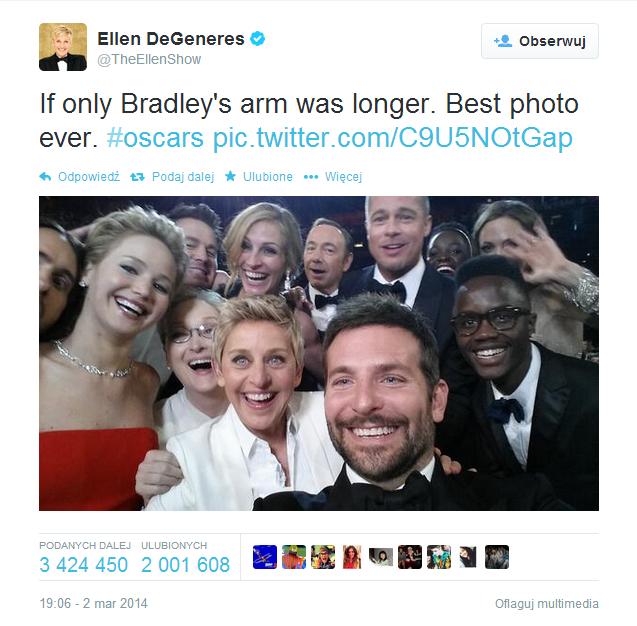 Najbardziej znane selife z rozdania Oscarów w 2014 roku