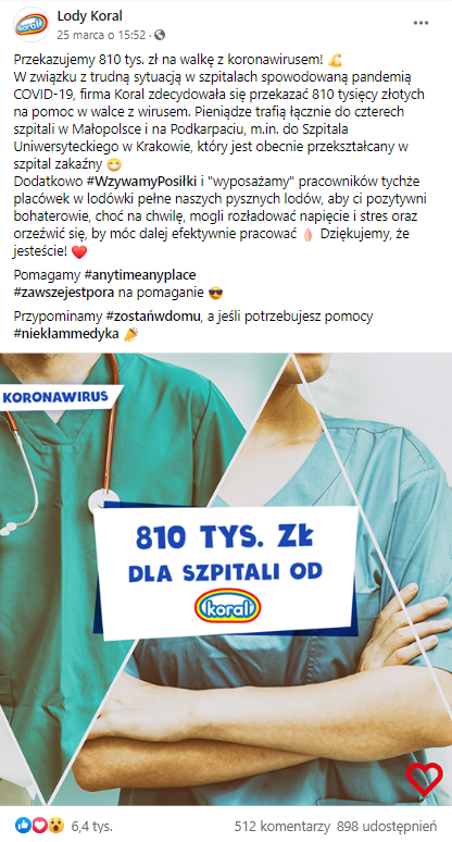 [a.] Post na fanpage'u marki Lody Koral na Facebooku.