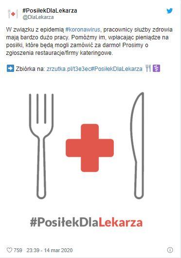 Akcja 'Posiłek dla lekarza' stała się popularna w social mediach