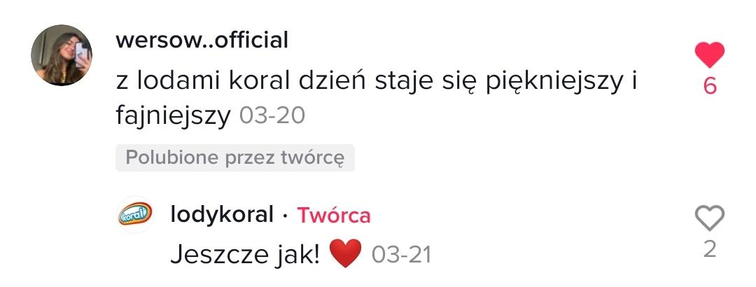 Komentarz z profilu @lodykoral