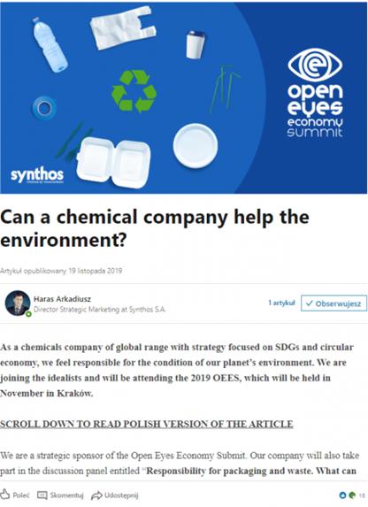 Jeden z artykułów eksperckich Synthosa na LinkedIn