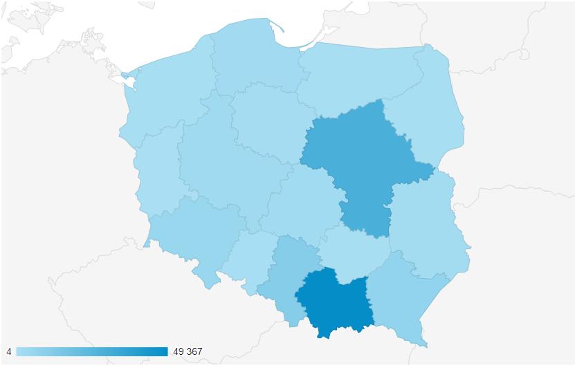 Mapa Polski prezentująca zainteresowanie akcją Piwniczanki w poszczególnych województwach