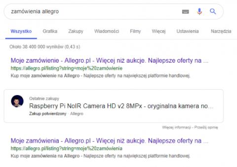 Spersonalizowany wynik wyszukiwania w oparciu o GMail