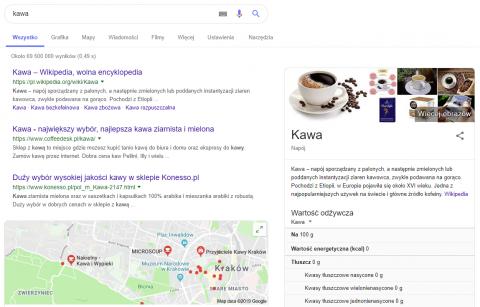 Wynik wyszukiwania Google na hasło kawa