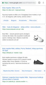 Wynik wyszukiwania Google na hasło buty nike na urządzeniu mobilnym