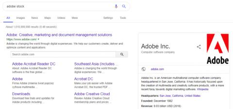 Wynik wyszukiwania Google na hasło adobe stock
