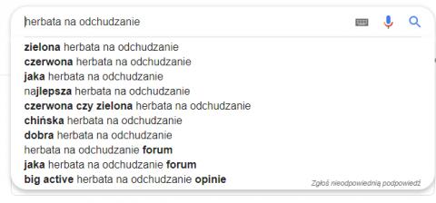 Sugestie w wynikach wyszukiwania