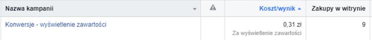 Facebook - koszt - wynik.
