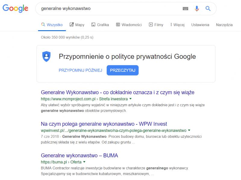 """Domena Klienta w wyszukiwarce Google na słowo """"generalne wykonawstwo"""