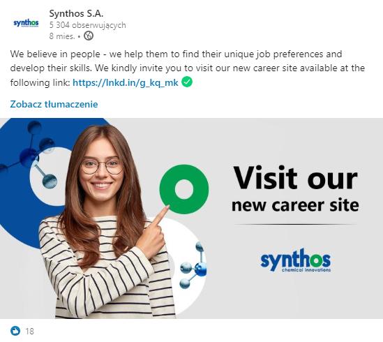 Synthos – komunikacja na profilu
