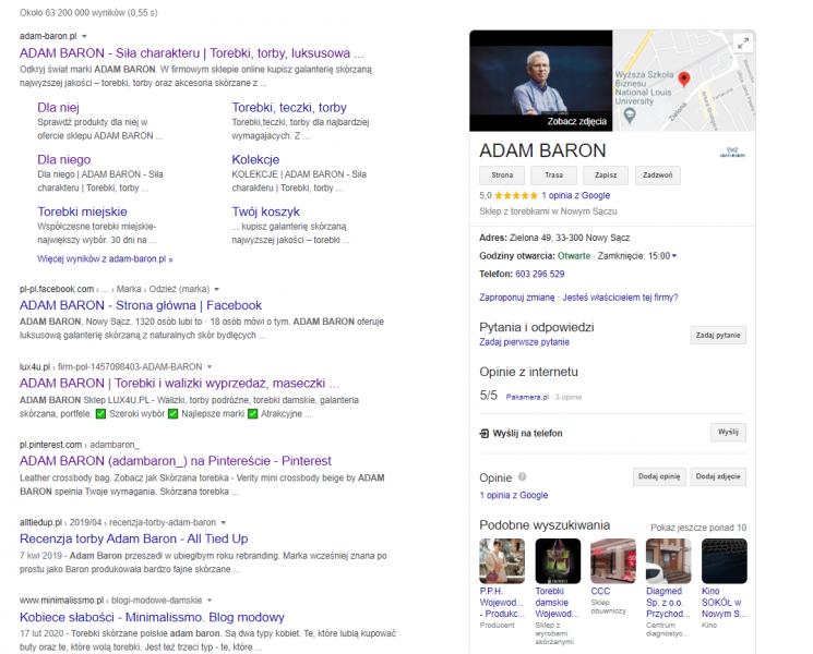 ADAM BARON: wyniki wyszukiwania na frazę brandową