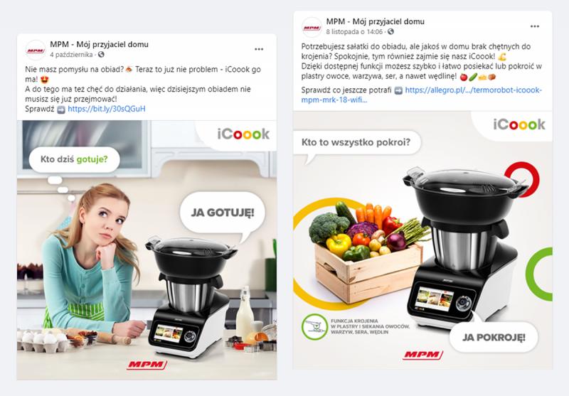 iCoook firmy MPM w social mediach