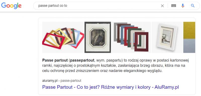 Aluramy - pozycja 0 w Google