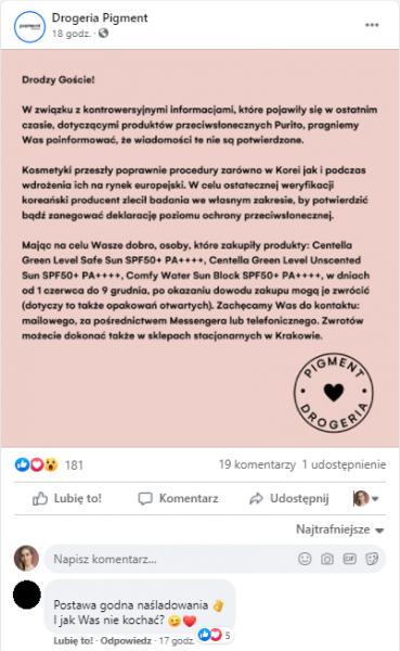 [d.] Przykład social listeningu – Drogeria Pigment